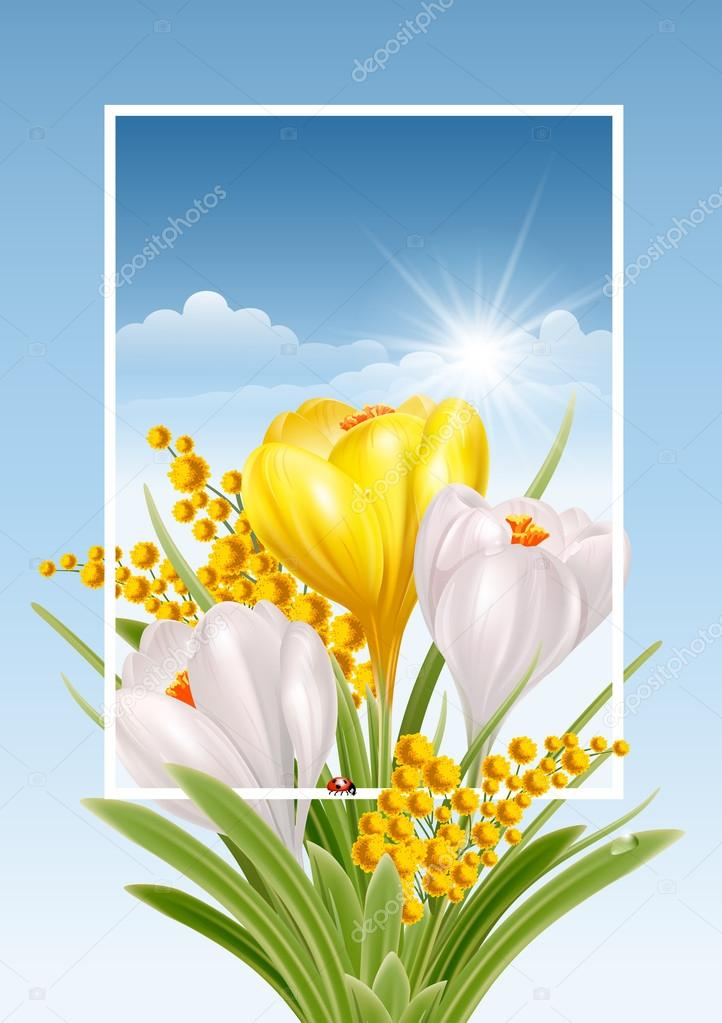 Spring Design with Spring Flowers