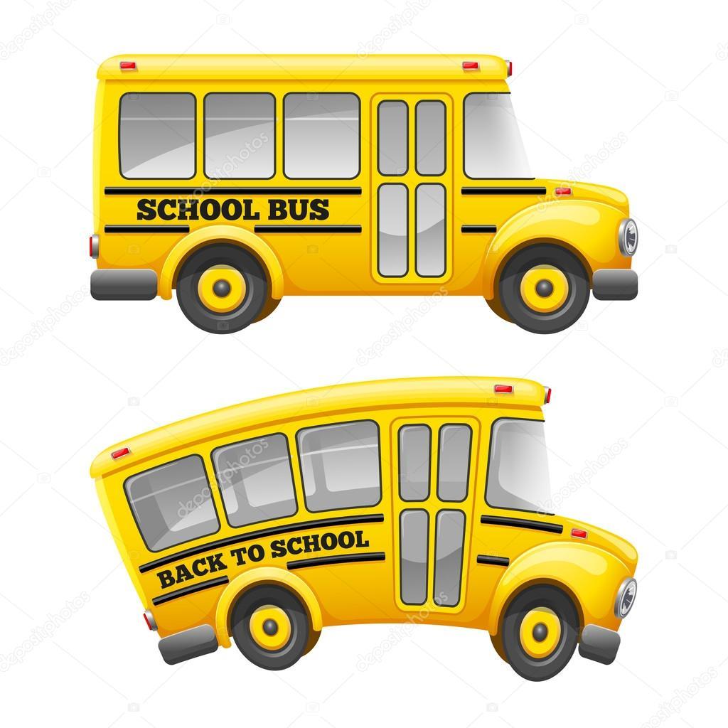 Dessin Animé Jaune Autobus Scolaire Image Vectorielle