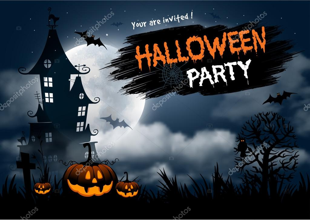 halloween party invitation template stock vector pazhyna 123900026