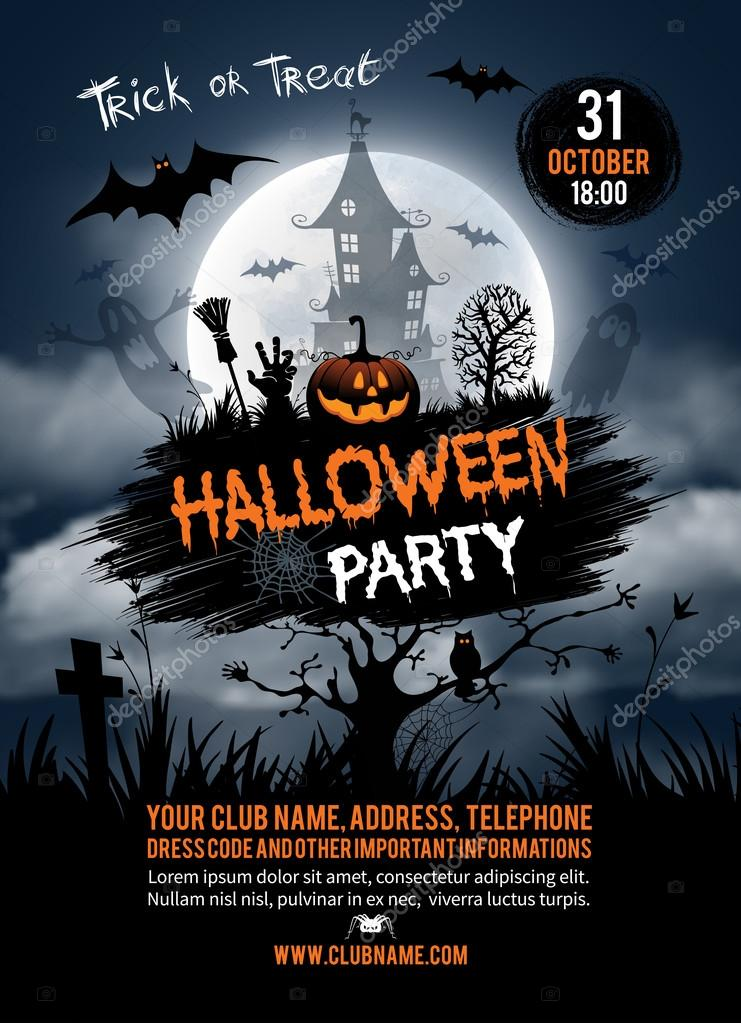 Halloween Party Flyer Template  Stock Vector  Pazhyna