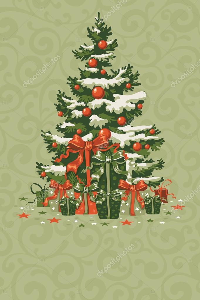 Immagini Cartoline Natale Vintage.Cartolina Di Natale Vintage Vettoriali Stock C Pazhyna