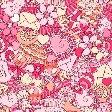 Fun, bright and original festive seamless background for Valentines day, made in the doodle style. Vector. clip art vector
