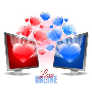 Two monitors. Virtual relationship  concept. Vector illustration. clip art vector