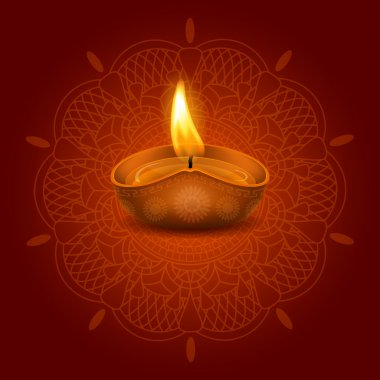 Vector illustration of burning oil lamp diya on Diwali Holiday, ancient Hindu festival of lights, on ornate dark red background. There is a space for your text. stock vector