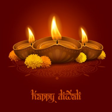Vector illustration of burning oil lamp diya on Diwali Holiday, ancient Hindu festival of lights, decorated with flowers on ornate dark red background. Original calligraphic inscription Happy Diwali and space for your text. stock vector
