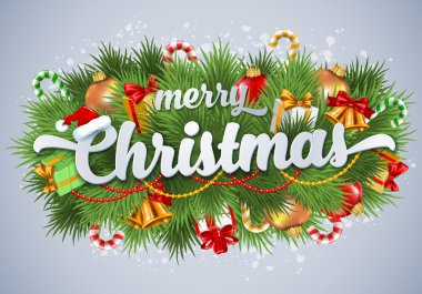 Merry Christmas lettering card with spruce branches