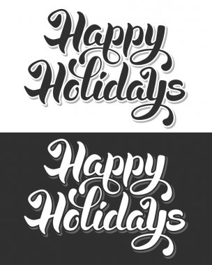 Happy Holidays hand drawn calligraphic lettering