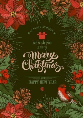 Vintage vector card for Merry Christmas