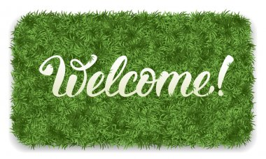 Welcome mat with green grass
