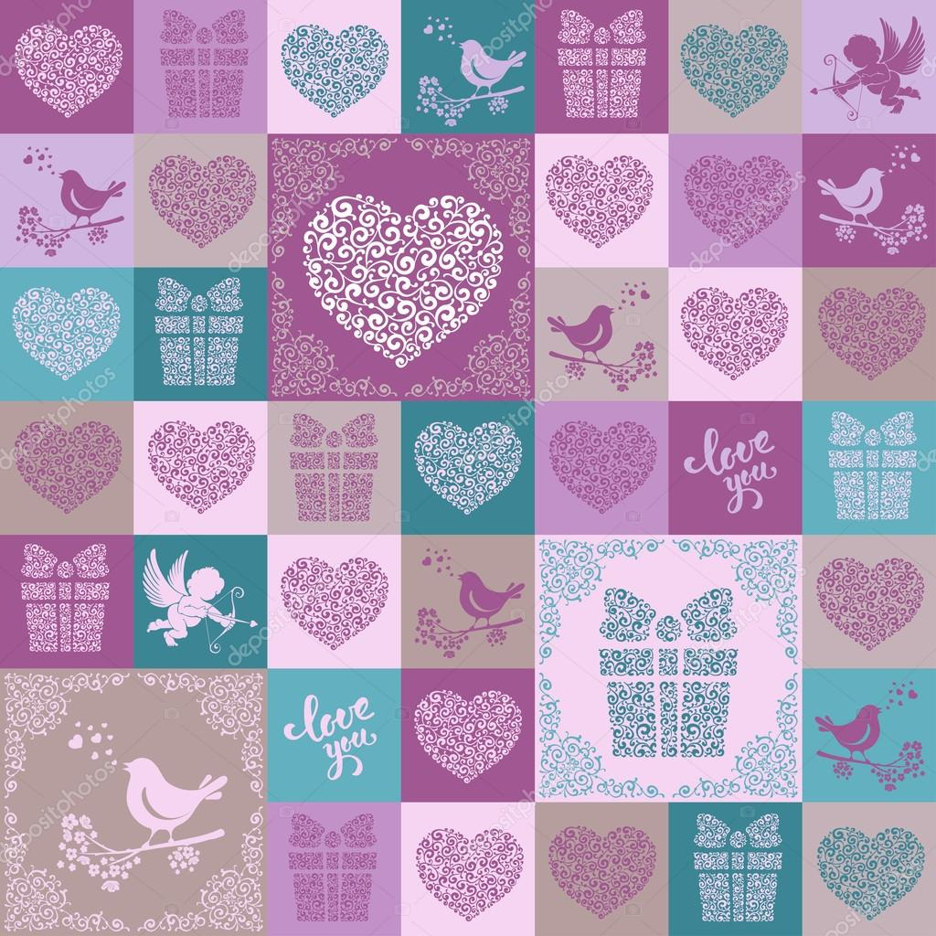 Valentines seamless pattern with different symbols stock vector unusual seamless patchwork pattern from different symbols of love in moroccan tiles style design element for valentines day and wedding day buycottarizona Images