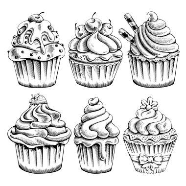 Set of Hand Drawn Cupcakes