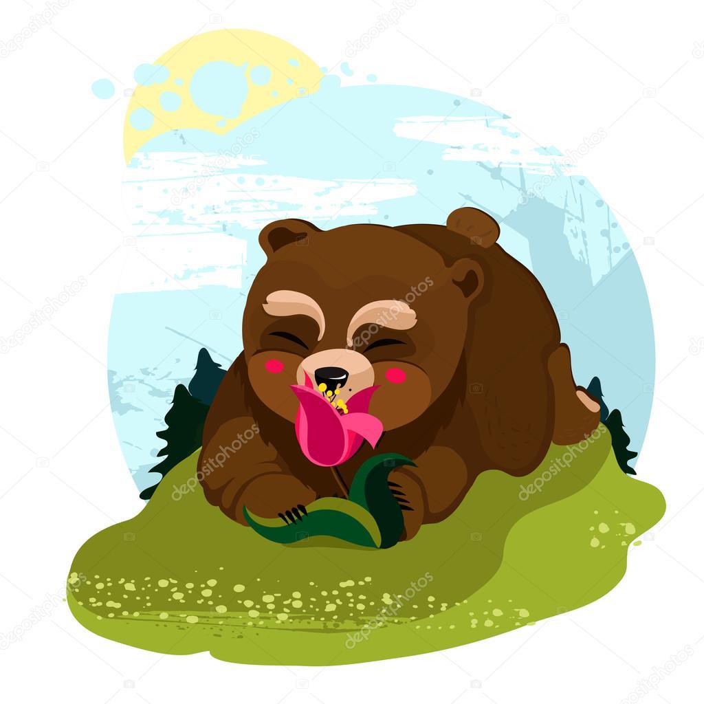 Happy Teddy Bear smelling a flower