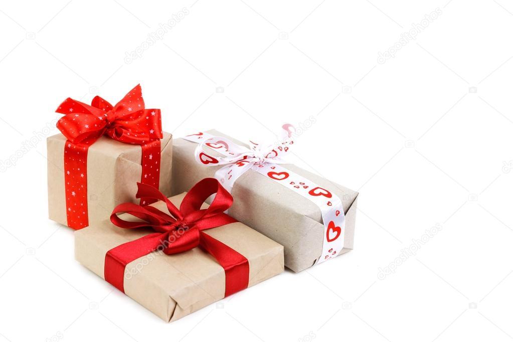 Geschenke-Boxen für Weihnachten auf weißem Hintergrund — Stockfoto ...
