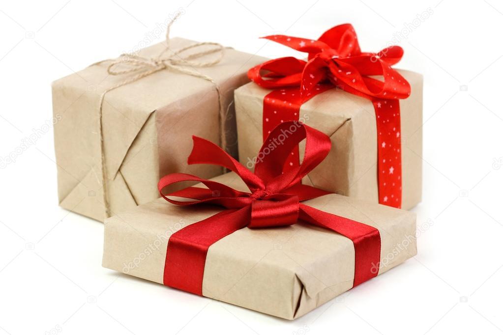 Scatole Per Regali Di Natale.Primo Piano Di Scatole Regali Di Natale Foto Stock
