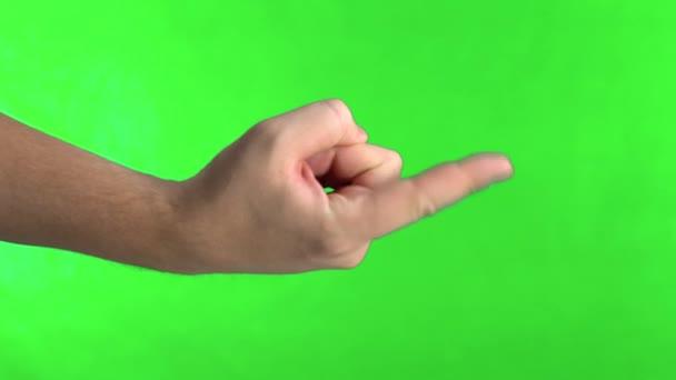 Hívójel. Gyere csak ide. Egykezes gesztus. Chromakey vagyok. Zöld képernyő.