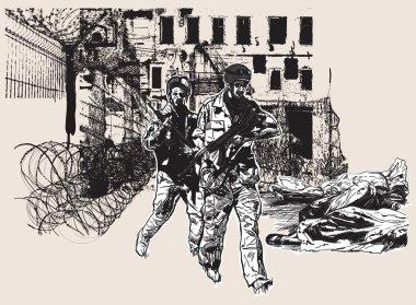 War District - an hand drawn, freehand, vector