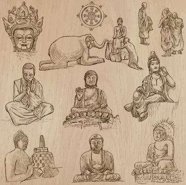 Buddhism - Freehand sketching, vector pack
