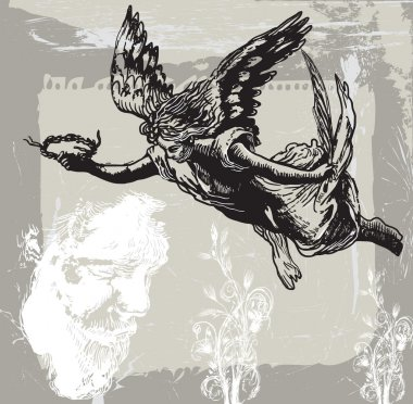 Guardian Angel, Condolences - Hand drawn vetor, freehand