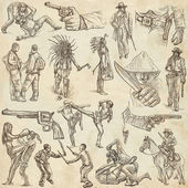 Egy kézzel rajzolt, freehand rajz gyűjtemény - harcosok