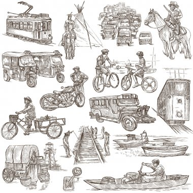 An hand drawn, freehand drawing, collection - Transport