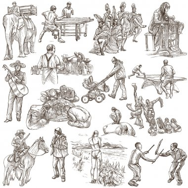 An hand drawn, freehand drawing, collection - People