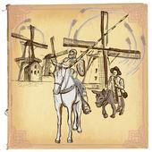 Fotografie Don Quijote (Quijote) - Eine handgezeichnete Vektorskizze, freihändig, c