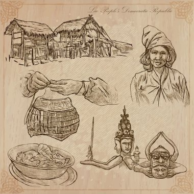 Laos. Pictures of Life. Vector pack.