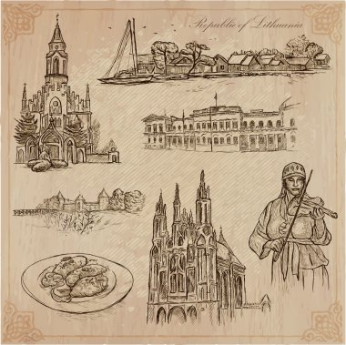 Lithuania. Pictures of Life. Vector pack.