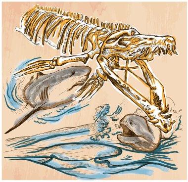Underwater Prehistory - An hand drawn vector