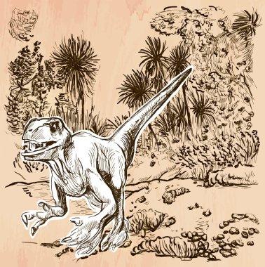 Dino, Dinosaurs - An hand drawn vector. Line art.