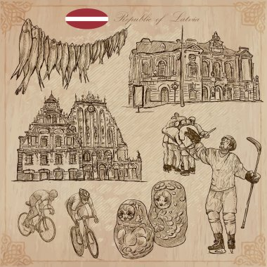 Latvia. Freehand vectors. Hand drawn collection. Line art.