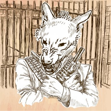 Gunman. Wolf - An hand drawn vector. Line art.