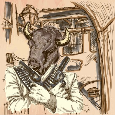 Gunman. Bison - An hand drawn vector. Line art.