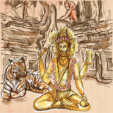 Brahma. God. An hand drawn vector. Line art.