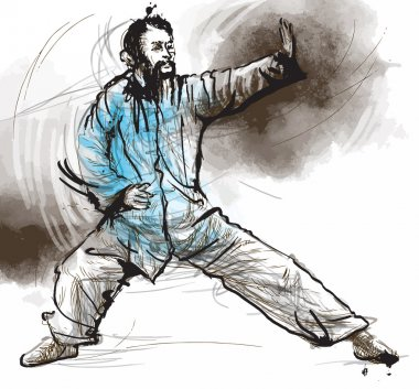 Taiji (Tai Chi). An hand drawn illustration converted into vector