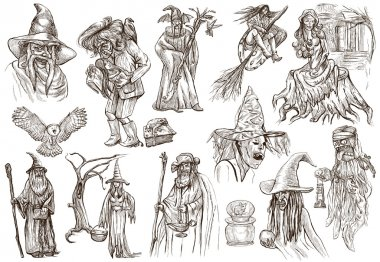 Halloween, Wizard and Witches - An hand drawn pack