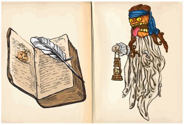 Pumpkin Witch and Book - hand drawings, vector