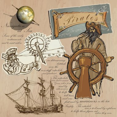 Pirates - Navigation at Sea. Hand drawn and Mixed media vector