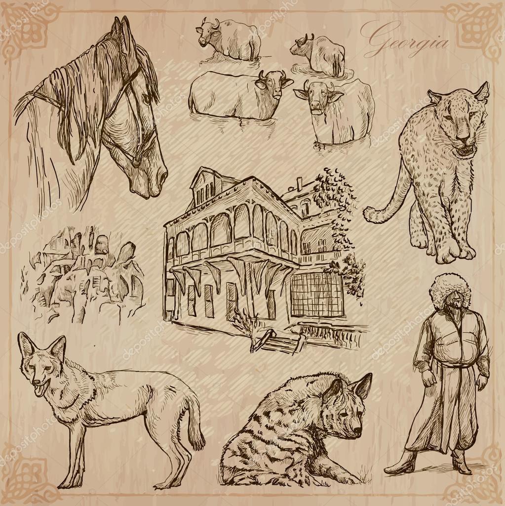 Travel: Georgia - An hand drawn vector pack