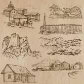 Architektur, berühmte Orte - Hand gezeichnete Vektoren