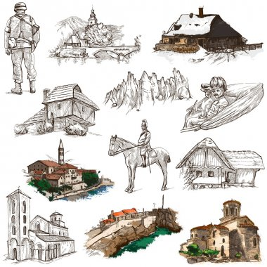 Travel series: Former Republics of YUGOSLAVIA - Collection of an hand drawn illustrations (pack no.3). Description: Full sized hand drawn illustrations drawing on white. stock vector