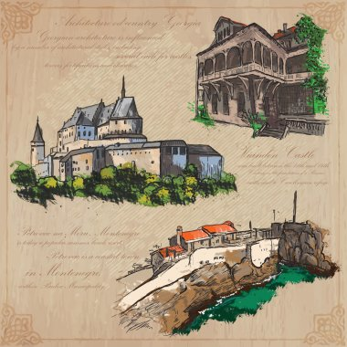places nad architecture - hand drawn vector pack