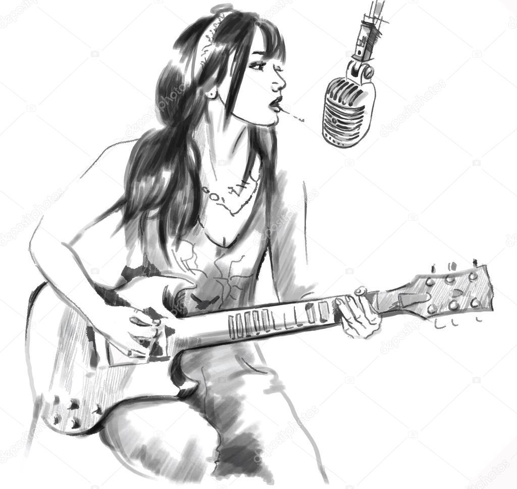 Рисованные картинки гитаристов Курить Гитарист Рука