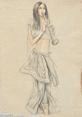 Clarinet player. An hand drawn full sized illustration, original