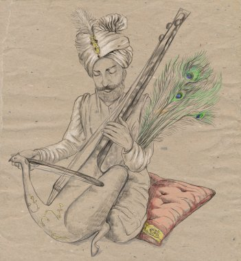 Taus player. An hand drawn full sized illustration, original.