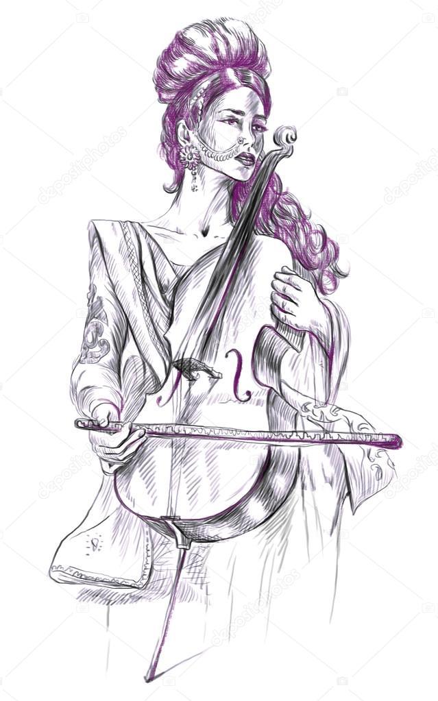 Hrac Na Violoncello Od Ruky Nakres Plne Velikosti Originalni