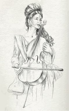 Violoncello Player - vector illustration (converted)