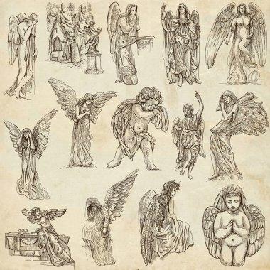Angels - hand drawn full sized illustrations, originals