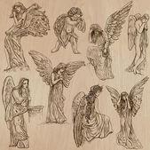 Andělé - ručně kreslenou vektorové pack