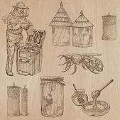 Fényképek méhek, méhészet és méz - kézzel rajzolt vektoros pack 9